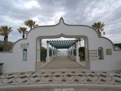 Entrance to Kalithea Thermi, a circa 1929 Italian spa built right next to the sea