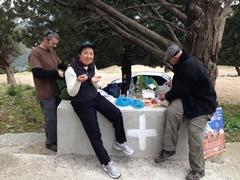 Enjoying our picnic lunch at the base of Panagia Tsambika Monastery