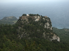 The medieval fortress of Monolithos (named for the 750 foot monolith on which it is built) was an impregnable castle built by Grand Master d'Aubusson (of the Knights Hospitaller) in 1480