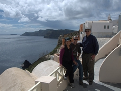 Family photo on our own private patio; Old Oia Houses