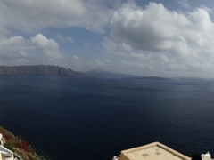 Panoramic view of Santorini as seen from the balcony of our apartment