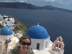 Becky & the blue domed church; Oia