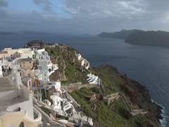 View of the zig zagp staircase leading up from Ammoudi Bay to Oia