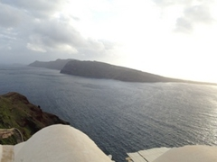 Panoramic view of the sunset point in Oia