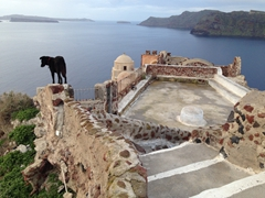 Early morning view of the castle ruins. Not a soul in sight except a friendly Oia dog that kept us company