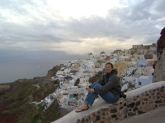 Becky enjoying the solitude of an Oia sunrise