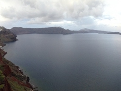 Panoramic view of Oia's castle ruins