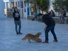 A playful dog enjoys a game of catch with this teenaged local; Oia
