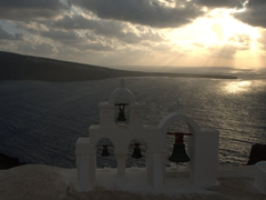 Church bells at sunset; Oia