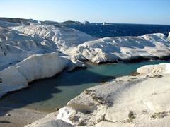 The pristine, shallow waters of Sarakiniko Beach make for a super popular beach