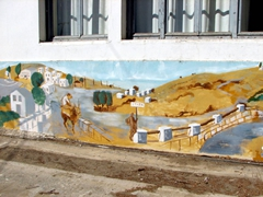 Naxos countryside mural painted on the school's walls; north end of Halki
