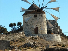 Close up of a working windmill; outskirts of Apiranthos