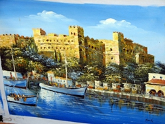We chanced upon an artist's dwelling, and checked out his paintings for sale. This one is of Naxos's kastro (castle)