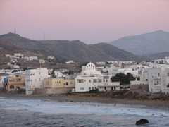 View over Naxos during sunset