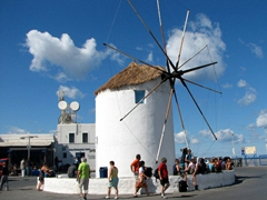 The windmill serves as the center of Parakia and is a popular hangout while waiting for an outbound ferry