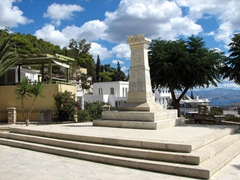 Lefkes's main square has a monument and fantastic views overlooking Lefkes