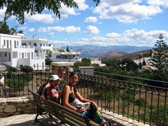 Group photo overlooking pretty Lefkes