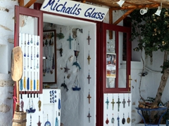 Michalis Glass souvenirs for sale; Lefkes