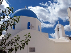 The sky-blue cupola of this church blended right in with the surrounding sky; Lefkes