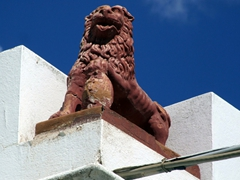 A lion standing guard; Lefkes