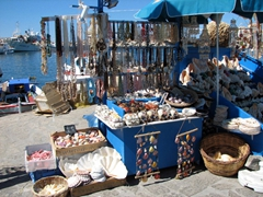 Souvenir stand showcasing sea shell ornaments for sale