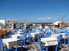 Al fresco dining by the seaside; Naoussa