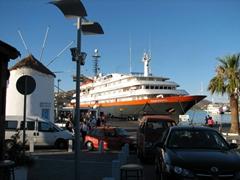 Our Easy Cruise docked in Parikia's harbor