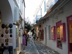 Lots of beautiful shops line this quaint alleyway; Parikia