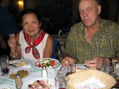 Ann and Bob are thoroughly enjoying their seafood meal...Paros rocks!