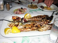 After a busy day in Paros, we enjoyed a scrumptious seafood meal in Parikia