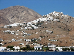 The Hora of Serifos spills like a snow drift from the summit of a rocky hill above Livadi