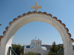 Archway entrance to a church nearby Livadakia Beach