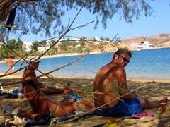 Ann, Becky and Robby chilling on Livadakia Beach