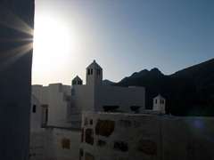 Shadowed effect of the sun against Hora's dazzling white buildings