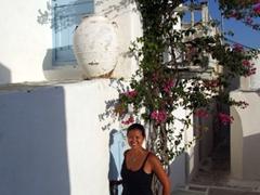 Becky enjoying the spectacular vistas in Hora