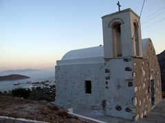 Scenic view of an old church with Livadi in the background