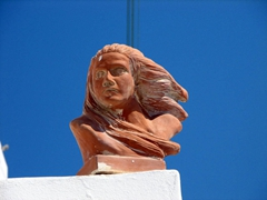 A figurine with wind-swept hair...very appropriate for our experience on Amorgos with its powerful meltemi winds
