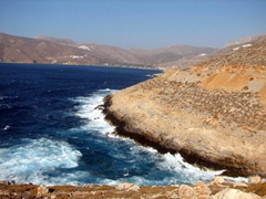 A view of Amorgos's rugged eastern coastline