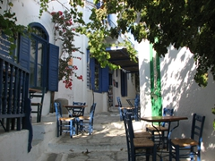 Empty cafes in Hora signal the end of the tourist season
