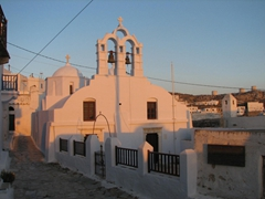 Sunset on one of Hora's many churches