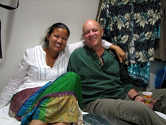 Becky and Bob relax after a busy day in Amorgos