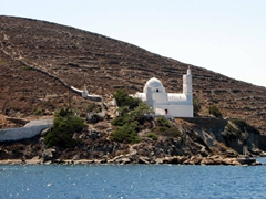A solitary church greeted us upon arrival into Ormos