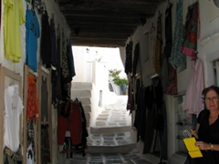 Hora's narrow alleyways are full of surprises...shops, bars, or clubs