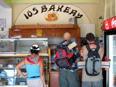 Ann, Bob and Robby scope out the Ios Bakery's goodies