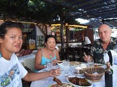 Becky, Ann and Bob enjoy Thai food at Delphinis; Mylopotas