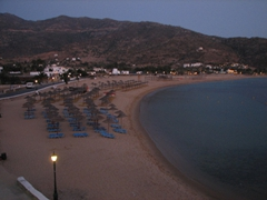 A final view of Mylopotas Beach at duskfall...the partiers have moved from the beach to their respective hotels in anticipation of the activities in Hora