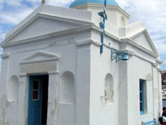 Picturesque Agios Nikolaos church at the port of Hora