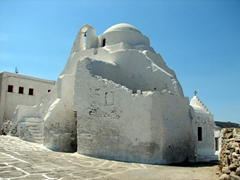 The ancient church of Panagia Paraportiani is Mykonos's most famous. It is actually five small churches amalgamated in classical Byzantine style