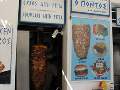 Tasty gyros grilled on a spit all day long; Hora