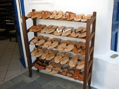 Leather sandals are also a popular purchase for visitors to Hora